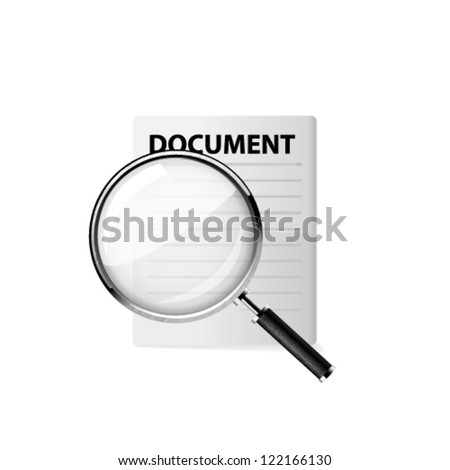 Magnifying glass - Search the document. Vector illustration - stock vector
