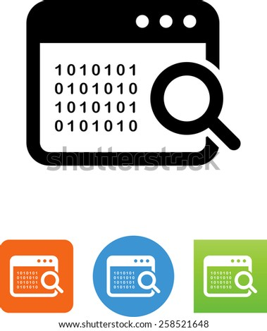 Magnifying glass searching through computer code. Vector icons for video, mobile apps, Web sites and print projects.  - stock vector