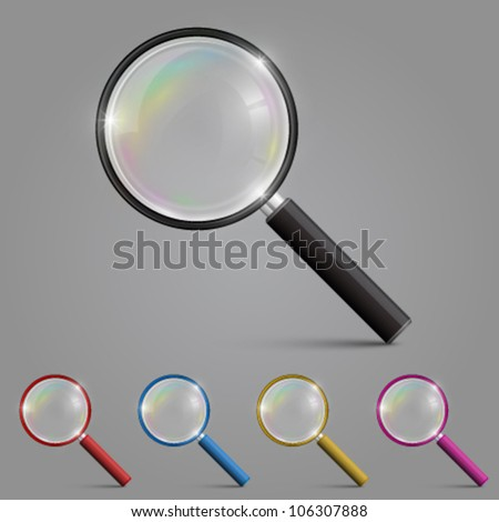Magnifying glass set color, Magnifying icon sign, Vector illustration - stock vector