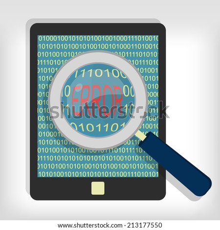 Magnifying glass showing error code on tablet. Tablet error code - stock vector