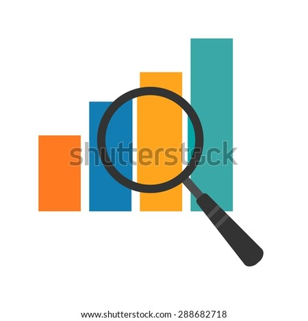 Magnifying glass, statistics, bar icon vector image. Can also be used for seo, digital marketing, technology. Suitable for use on web apps, mobile apps and print media.