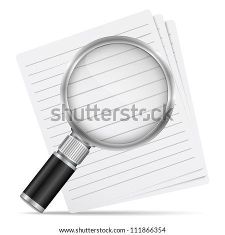 Magnifying glass with abstract paper documents, vector eps10 illustration - stock vector