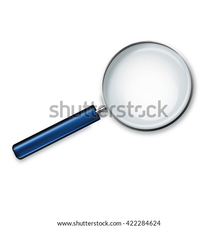Magnifying glass with blue handle isolated on white background vector illustration.