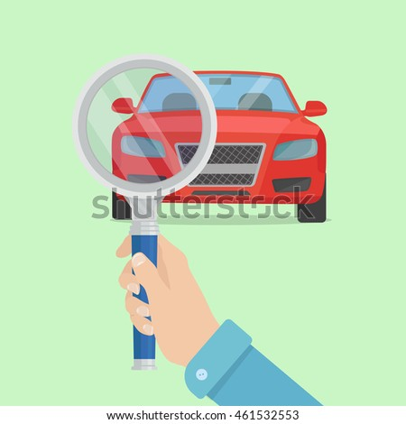 Magnifying glass with car. Magnifying glass with car vector icon. Search testing service of the car. Magnifying glass with car in flat style. Magnifying glass with car vector picture