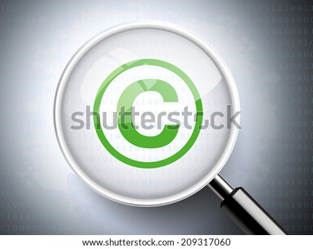 magnifying glass with copyright icon on digital background - stock vector