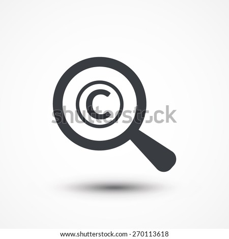 Magnifying glass with copyright icon on white background
