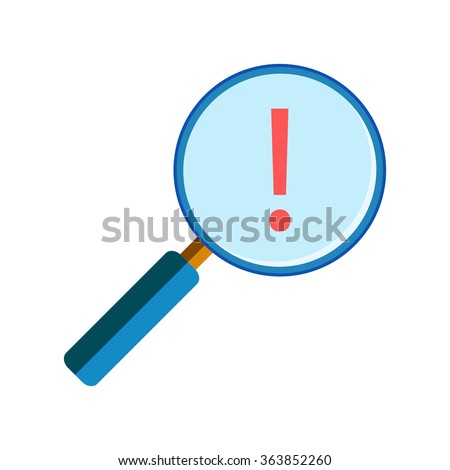 Magnifying glass with exclamation mark - stock vector