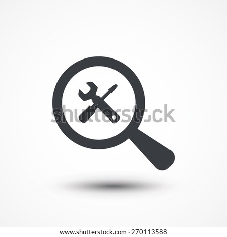 Magnifying glass with tools icon  - stock vector