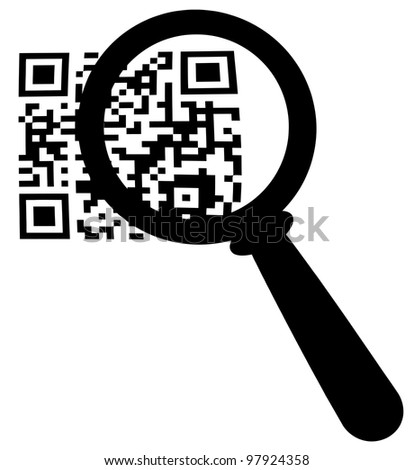 Magnifying Glass Zooming In On A QR Code - stock vector