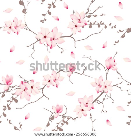 Magnolia blossom trees seamless vector pattern  - stock vector