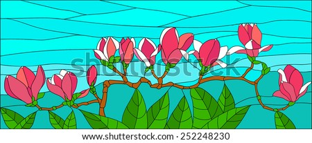 Magnolia flowers on a branch, stained glass window - stock vector