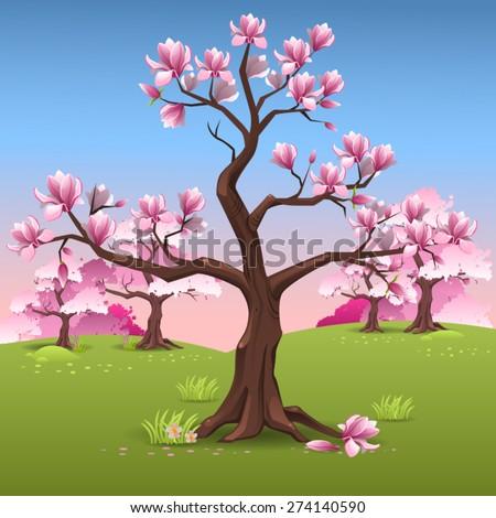 Magnolia tree landscape - stock vector