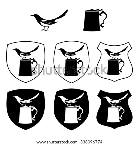 Magpie and beer mug, different shapes shields - stock vector