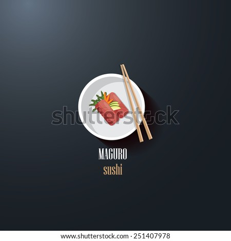maguro sushi japanese delicacy food icon logo design element for restaurant business- flat design style vector illustration- top view perspective - stock vector