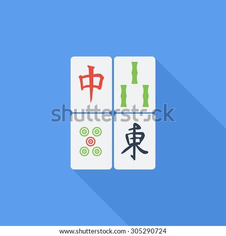 Mahjong icon. Flat vector related icon with long shadow for web and mobile applications. It can be used as - logo, pictogram, icon, infographic element. Vector Illustration. - stock vector