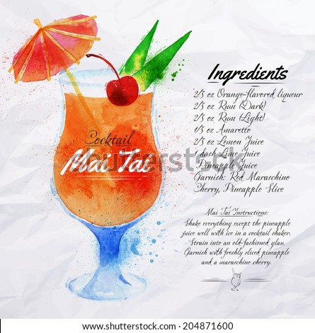 Mai Tai cocktails drawn watercolor blots and stains with a spray, including recipes and ingredients on the background of crumpled paper - stock vector