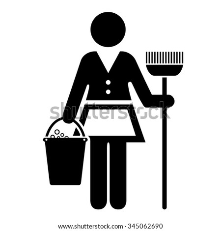 Maid vector icon illustration isolated on white background - stock vector