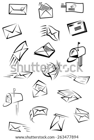 Mail and letters postal icons depicting envelopes with motion trails, stamps and sheets of paper inside, open post boxes with mail isolated on white background for post service design - stock vector