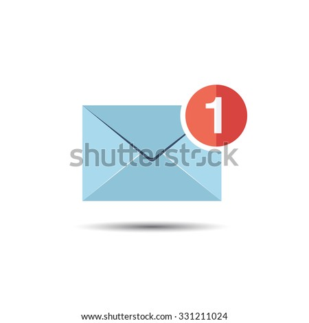 Mail and Message Notification Icon. Flat style - stock vector