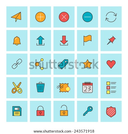 Mail and user interface icons. Vector icon set in flat design style. For web site design and mobile apps. - stock vector