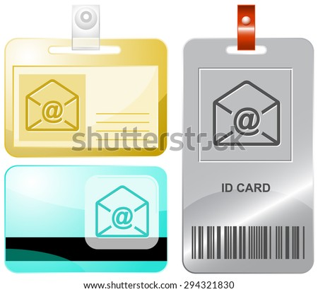 mail at-sign. Vector id cards. - stock vector