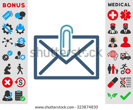 Mail Attachment vector icon. Style is bicolor flat symbol, cyan and blue colors, rounded angles, white background. - stock vector