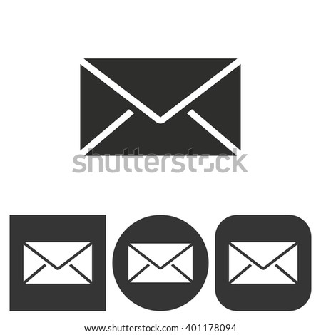 Mail    -  black and white icons. Vector illustration.