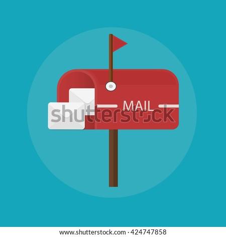 Mail box post icon. Flat design illustration. Mail box image, Mail box illustration, Mail box concept, Mail box vintage, Mail box with letter, Mail box letterbox, Mail box e-mail, Mail box postal - stock vector