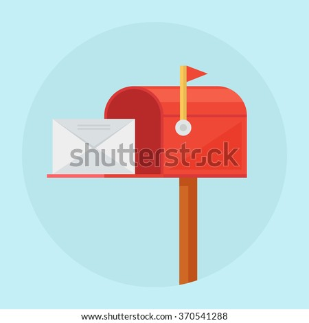 Mail box vector illustration in the flat style. Red mail box post. Open mail box with an envelope on the cover isolated from background. - stock vector