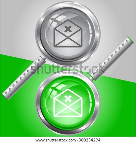 mail cancel. Vector magnifying glass. - stock vector