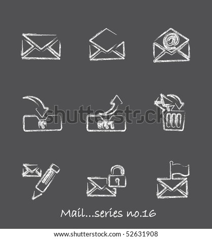 Mail chalkboard icons...series no.16 - stock vector