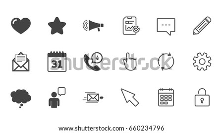 Mail Contact Icons Favorite Like Calendar Stock Vector 660234796