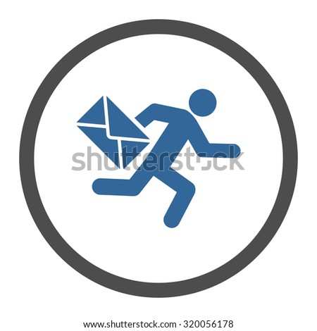 Mail courier vector icon. This rounded flat symbol is drawn with cobalt and gray colors on a white background. - stock vector