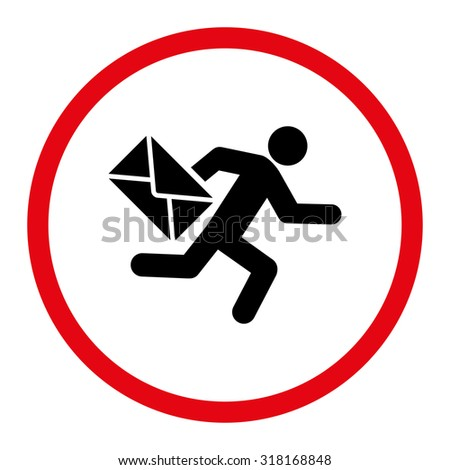 Mail courier vector icon. This rounded flat symbol is drawn with intensive red and black colors on a white background. - stock vector