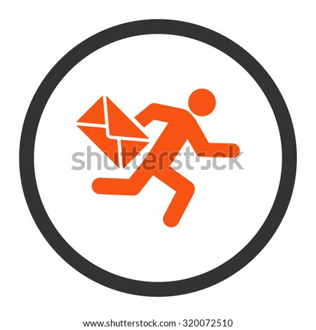 Mail courier vector icon. This rounded flat symbol is drawn with orange and gray colors on a white background. - stock vector