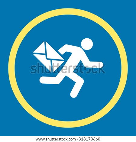 Mail courier vector icon. This rounded flat symbol is drawn with yellow and white colors on a blue background. - stock vector