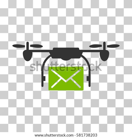 Mail Delivery Drone Icon Vector Illustration Style Is Flat Iconic Bicolor Symbol Eco Green