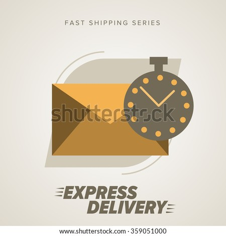 Mail Delivery Icon, vector mail delivery sign. Express Delivery Mail Service. Postal services. Envelope Delivery. Shipping Service, Delivery Vector Sign. Envelope and a timer icon. - stock vector