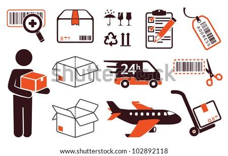 Mail delivery, transportation symbols - stock vector