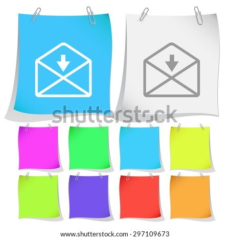 mail downarrow. Vector note papers.