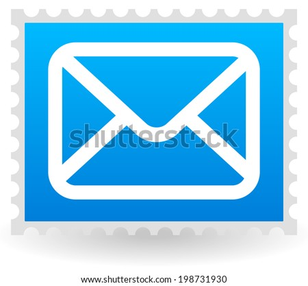 Mail, envelope icon on postage stamp vector illustration.