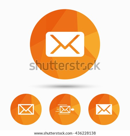 Mail envelope icons. Message delivery symbol. Post office letter signs. Triangular low poly buttons with shadow. Vector - stock vector