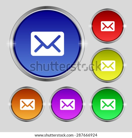 Mail, envelope, letter icon sign. Round symbol on bright colourful buttons. Vector illustration - stock vector