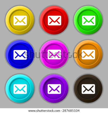 Mail, envelope, letter icon sign. symbol on nine round colourful buttons. Vector illustration - stock vector