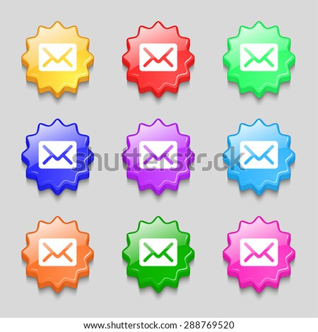 Mail, envelope, letter icon sign. symbol on nine wavy colourful buttons. Vector illustration - stock vector