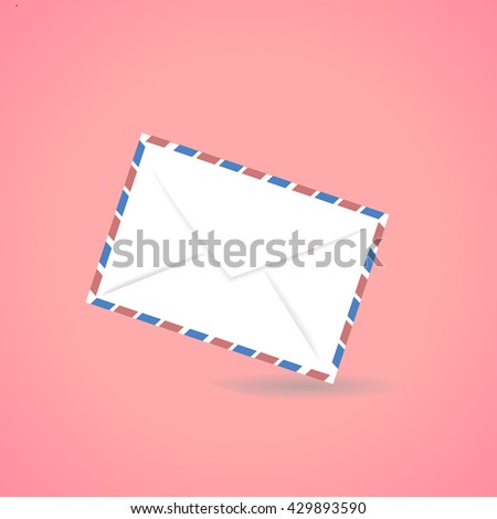 Mail Envelope  Postcard Vintage Style Vector  - stock vector