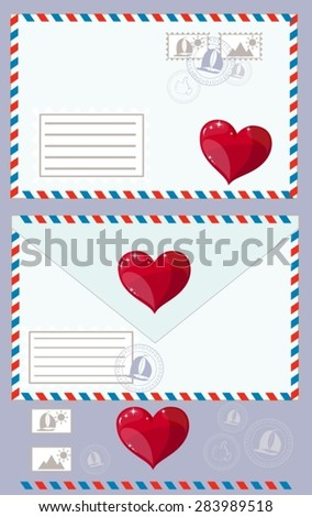 Mail Envelope, Stickers, Stamps And Postcard Vintage Style Vector - stock vector