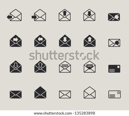 mail envelope web icons set - stock vector