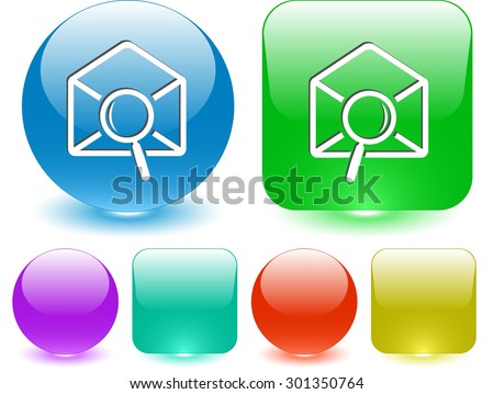 mail find. Vector interface element. - stock vector