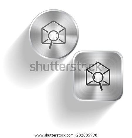 mail find. Vector set steel buttons - stock vector